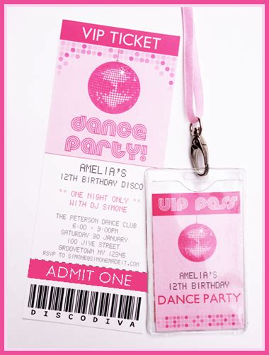 Printable Disco Dance Party Invitations Decorations In 2018 Birthdays Pinterest Vip Pass Vip Birthday Invitations Templates Free