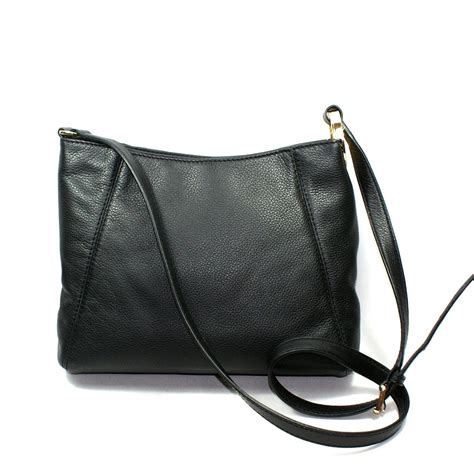 sack swing michael kors fulton black genuine leather medium crossbody