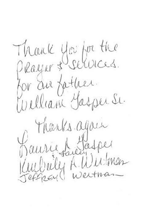 thank you letter after veterinary william m gasper sr us army vet mission annville pa 14