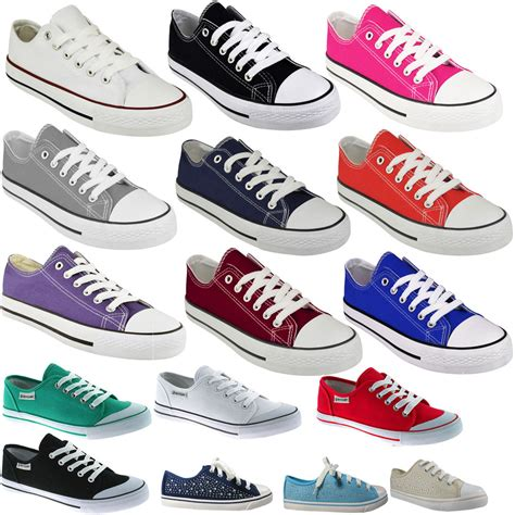 ebay shoes for new womens flat lace up plimsolls pumps