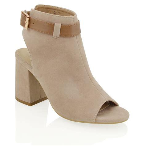 womens mid heel block peep toe open back cut out