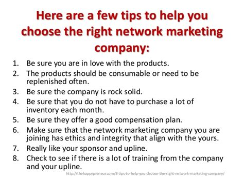 8 tips to help you choose the right network marketing company