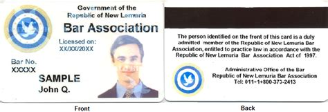 association membership card template republic of new lemuria introduction by governor of bar