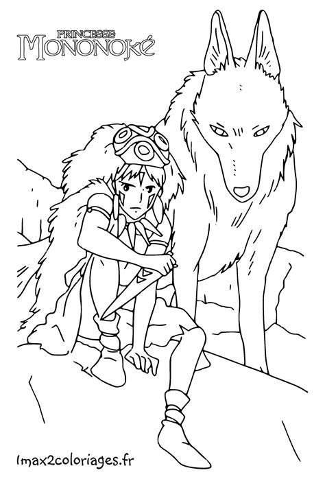 Coloriages Des Films Miyasaki Des Studios Ghibli Princess Mononoke Coloring Pages Free Coloring Sheets