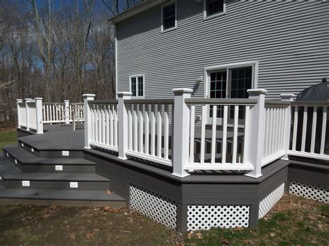 white  gray wood porch composite decks hot tub decks