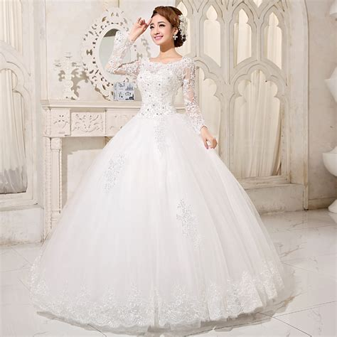 long sleeve bateau embroidery ball gown wedding gown