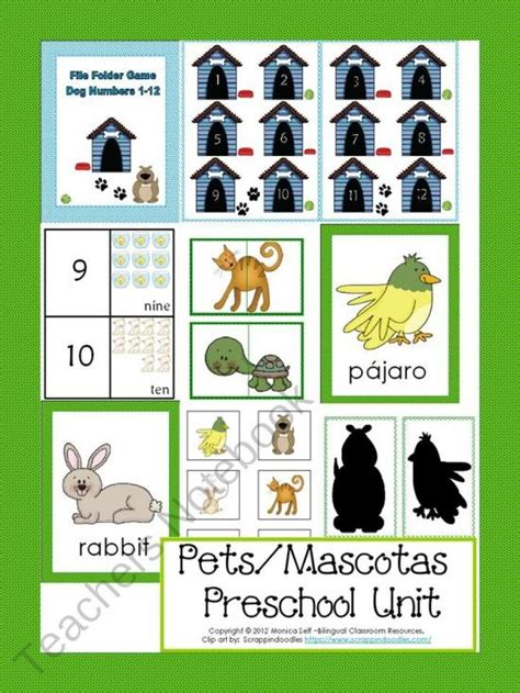 themes for english units pets mascotas preschool unit product from bilingual