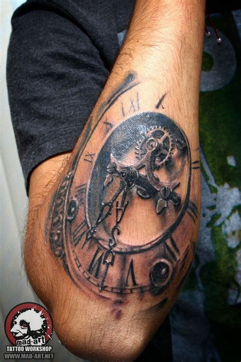 clock tattoo sleeve clock tattooed clocks