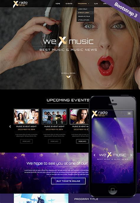 bootstrap themes free music radio station bootstrap template id 300111827 from