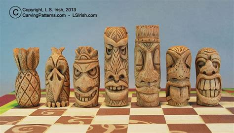 free tiki craft tiki chess set beginner s wood carving project by lora s irish cool fun