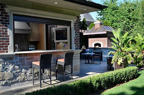 pool house bar pool house kitchen with bar transitional deck patio