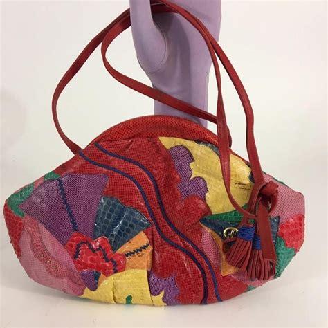carlo fiori carlo fiori italy vtg snakeskin leather texture colorful