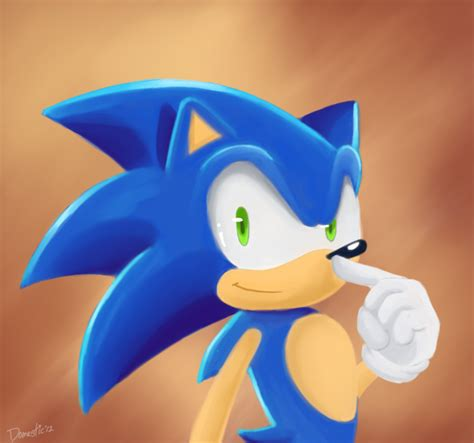 painting sonic a painting of sonic by domestic hedgehog on deviantart