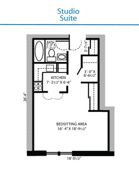 floor plan of studio suite quinte living centre