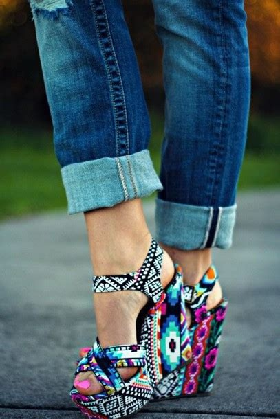 Pretty Heels For Summer by Shoes Accessories Tribal Pattern Print Heels