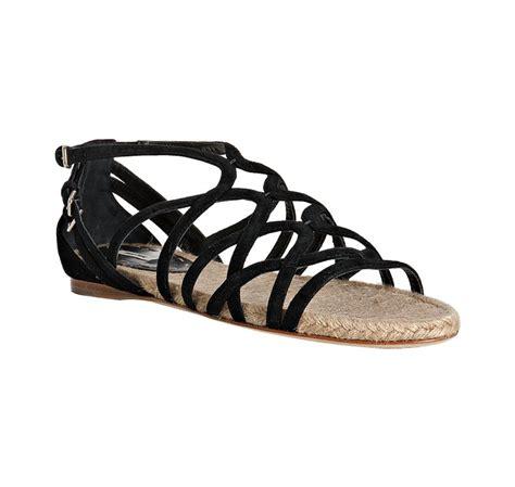 black strappy sandals flat miu miu black suede strappy flat sandals in black lyst