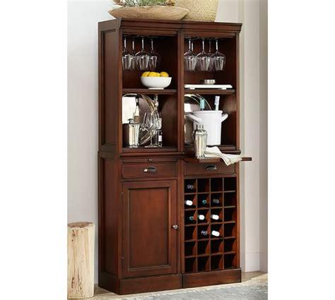 Modular Bar Cabinet Modular Bar System With 2 Standard Hutches 1 Cabinet Base And 1 Wine Grid Base Pottery Barn