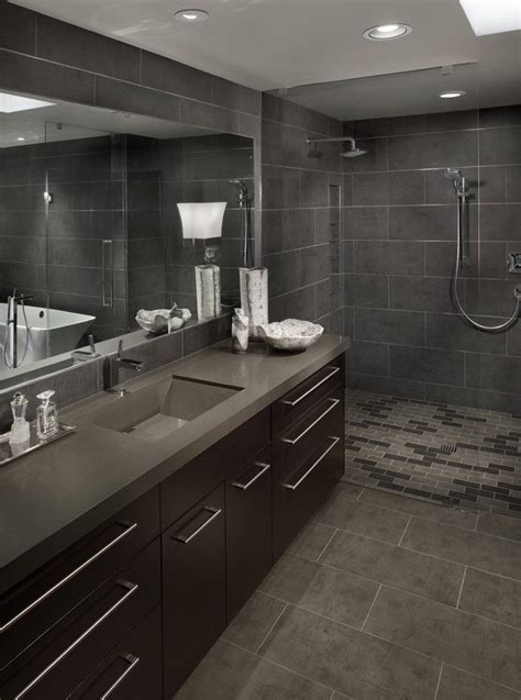 Single Wall Open Bathroom Contemporary with Modern Wooden