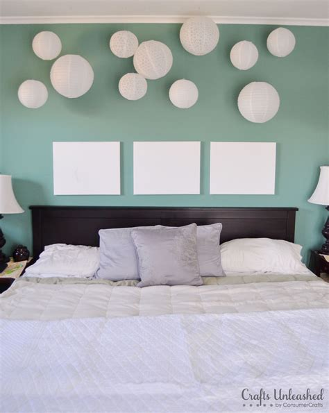 bedroom lanterns create a fun whimsical wall installation with paper lanterns