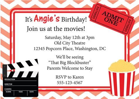 printable birthday invitations movie theme free movie night invitation birthday invite diy by cowprintdesigns