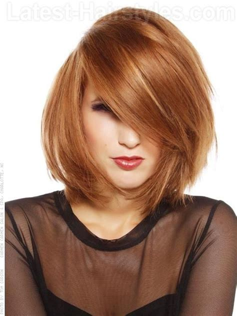 bob hairstyles without fringe medium layered rounded bob with a heavy side swept fringe