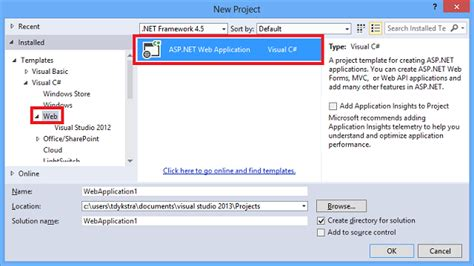 free templates for asp net projects creating asp net web projects in visual studio 2013