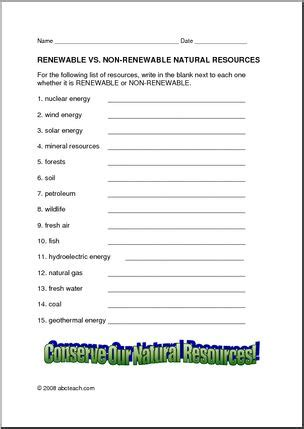 Renewable And Nonrenewable Resources Worksheet by Worksheet Renewable Resources Elem Abcteach