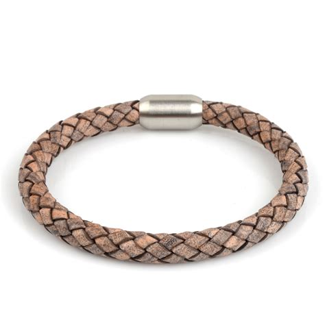 Braided Genuine Leather Bracelet braided leather bracelet beige 8mm silver half
