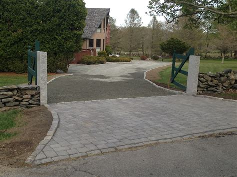 driveway paver apron with granite post with our gray
