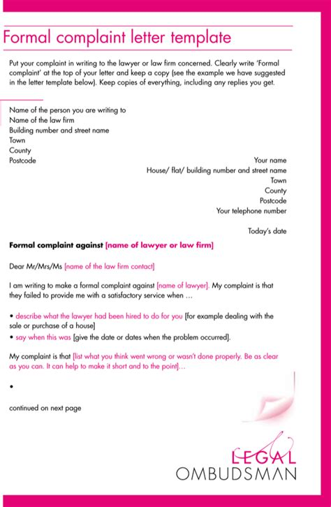 legal formal complaint letter template