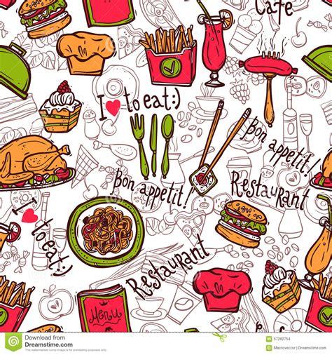doodle bar food restaurant symbols seamless pattern doodle sketch stock