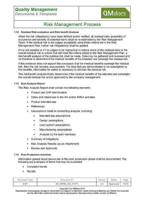 fda sop template risk management process sop