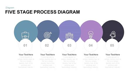 five stage process diagram free powerpoint and keynote