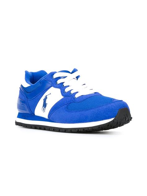 ralph athletic shoes polo ralph logo running sneakers in blue for lyst