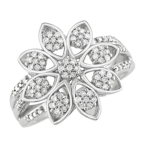 1 3 ct snowflake ring in sterling silver