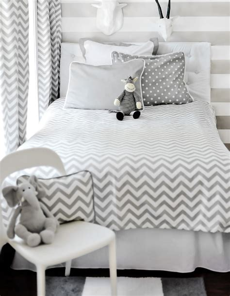 grey and white chevron bedding chevron bedding in the nursery or toddler room