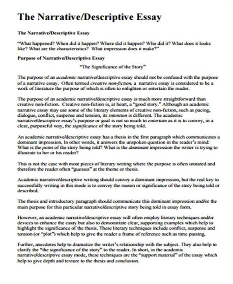 Fictional Narrative Essay Exles by Sle Narrative Essay 8 Exles In Word Pdf