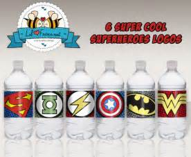 superheroes logos water bottle labels printable pdf
