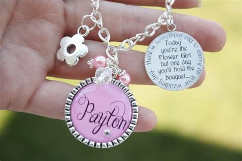 Wedding Keepsake Quotes by Flower Gift Personalized Charm Bracelet Unique