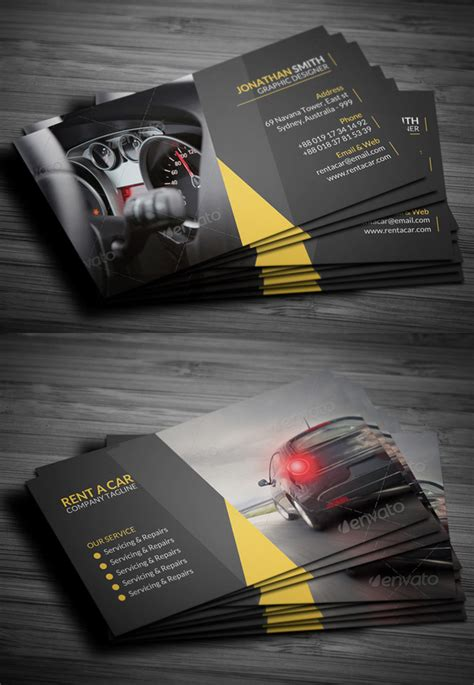rent a car business card template free 25 new professional business card psd templates design
