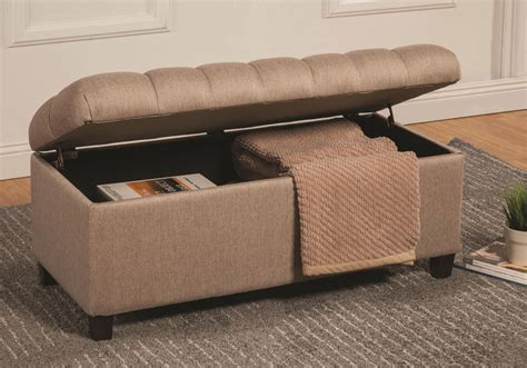 Fabric Storage Bench Seat Accent Upholstered Tufted Seat Storage Bench Ottoman Taupe