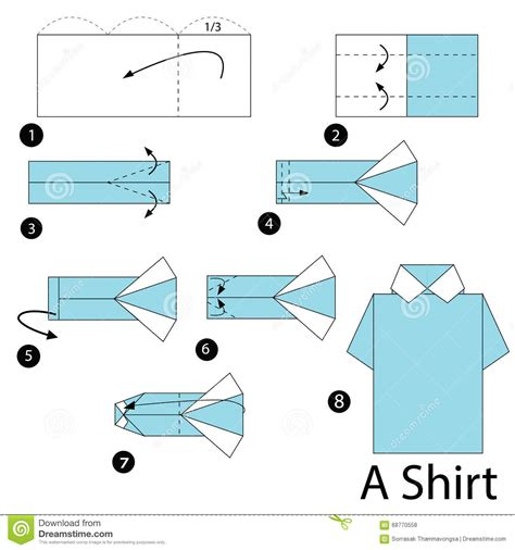 Origami T Shirt Folding - step by step how to make origami a shirt