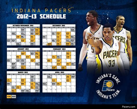 Calendã Nba 2017 Pacers 2012 13 Season Schedule The Official Site Of The