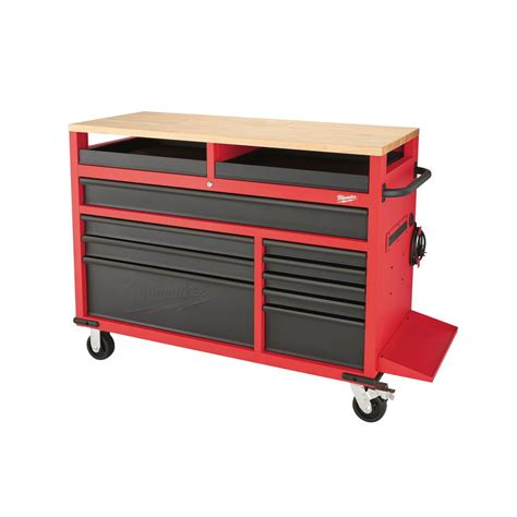 rolling tool cabinet workbench milwaukee 52 in 11 mobile work center 48 22 8552
