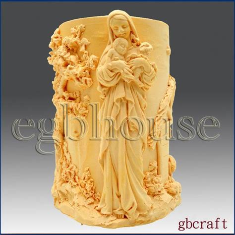 sti per candele in silicone 3d silicone cylinder candle mold madonna in garden 2 parts