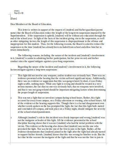 school appeal letter templates