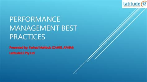 best practices in performance management performance management best practices