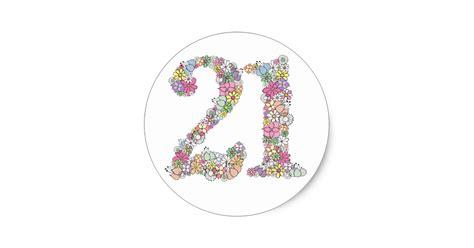 Design Own Wall Sticker floral bouquet number 21 label sticker seal zazzle