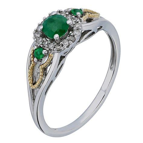 silver 9ct yellow gold emerald three