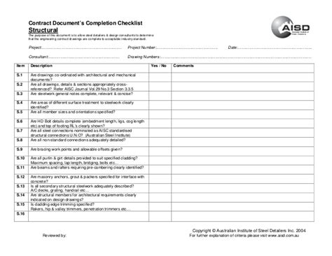 Architectural Construction Documents Checklist